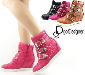 NEW Womens Fashion High Top Wedges Ankle Sneakers Shoes Hidden ...