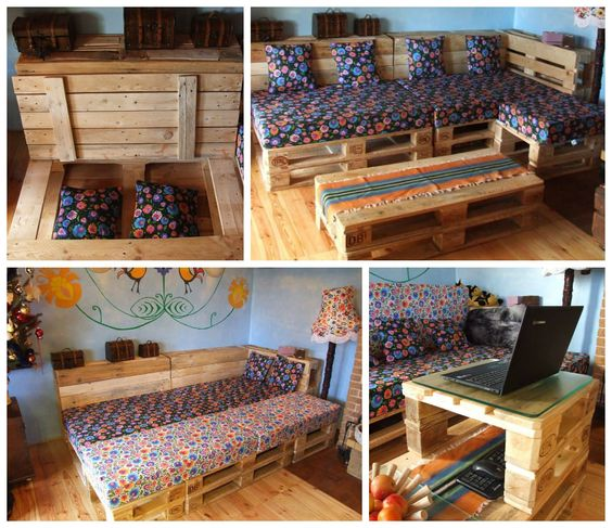 """Here is the type of pallet project we love to find for you. """"Meble z Palet"""" suggested us this really well designed Pallet lounge used as a corner Sofa with:"""