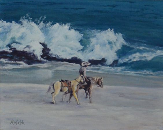 El Vaquero de la Playa  Horses on the Beach  Mexican by tananne
