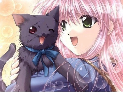 Fille Manga Et Chat Noir Dessin Anime Kawaii Manga Anime