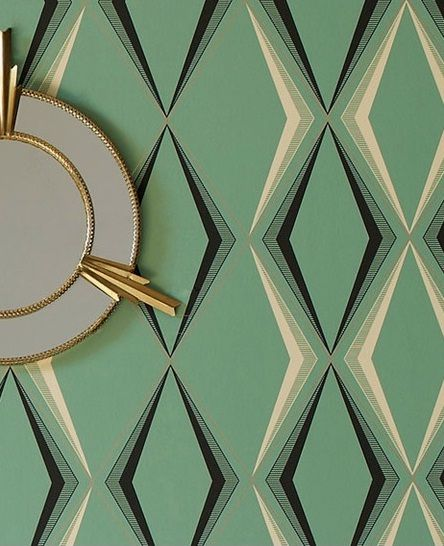 vintage wallpaper - Deco Diamond: Enamel – Inspired by 1930s glamour, this art-deco pattern takes its cue from the decade's emerald onyx ornaments and enamel kitchenware