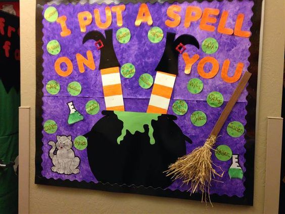 "Halloween bulletin board ""Pre-K Put A Spell On You""."