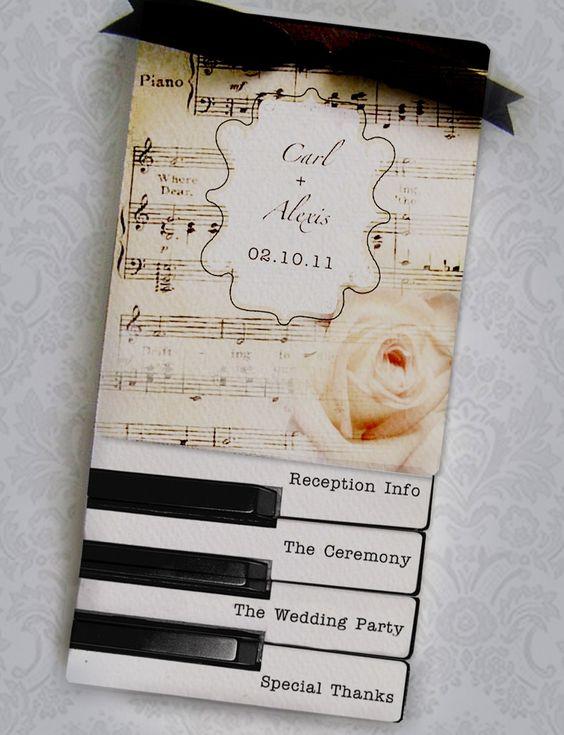 Sheet Music and Piano Keys Layered Wedding Programs @Jackie Neighbors