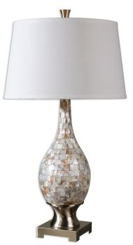 (Qty: 2) Mosaic tiles of Mother of Pearl accented with brushed aluminum accents. The round, slightly tapered hardback shade is a white linen fabric. Wattage/Bulb Type: 150W, 3-WAY  # of Bulbs: 1  Dimensions: 33H,   Shade 18 Dia. (in)  Weight (lbs): 17