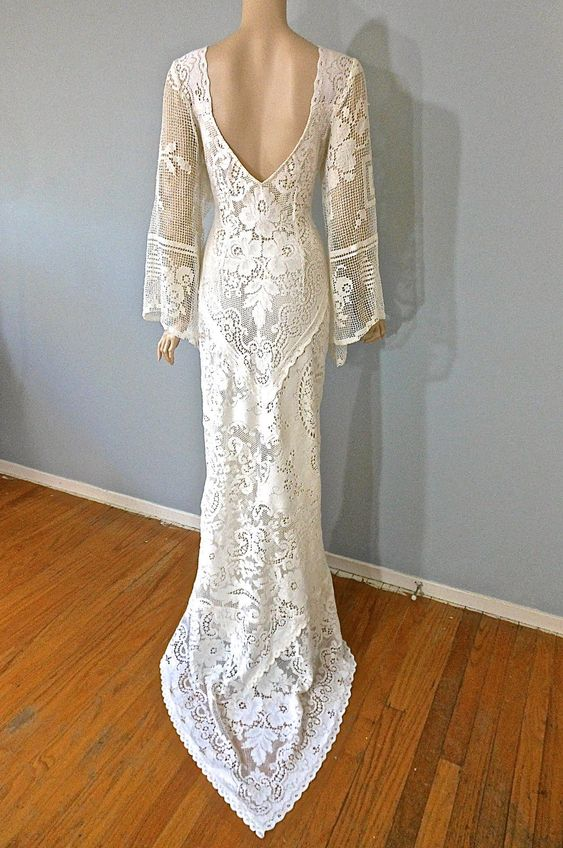 Boho Vintage LACE WEDDING Dress Cream Backless Wedding Gown Angel ...