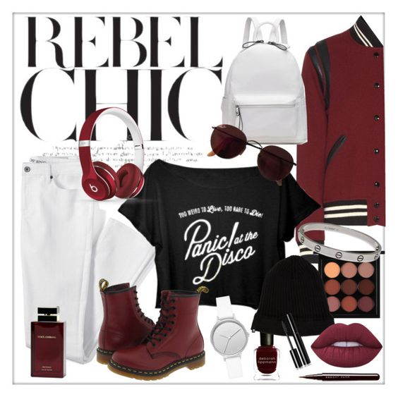 Rebel Chic #81 by laa-douleur-exquise on Polyvore featuring Yves Saint Laurent, Lands' End, Dr. Martens, Skagen, Cartier, 11 by Boris Bidjan Saberi, Beats by Dr. Dre, Ray-Ban, MAC Cosmetics and Lime Crime: