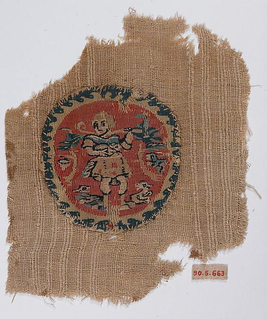 Woven medallion from a tunic, showing the good shepherd  Coptic Egypt, 5th–7th century