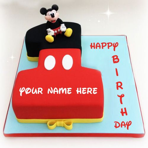 Happy First Birthday Wishes Mickey Cake With Your Name Cute Mickey