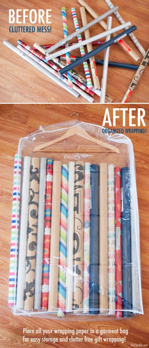 Instead of letting your rolls of paper take over your living room (like it usually does every December) use a garment bag to Corral Wrapping Paper in the back of your closet when you're done filling the space under your tree.