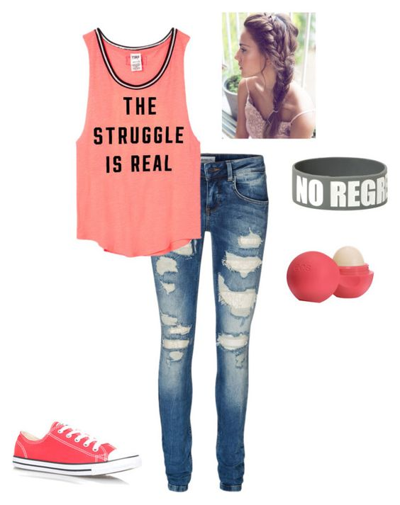 """""""The Struggle is Real"""" by haileywwe ❤ liked on Polyvore featuring Vero Moda, Victoria's Secret PINK, Converse and Eos"""