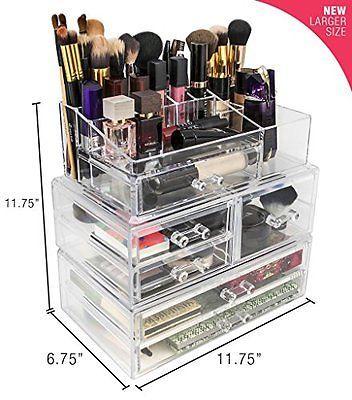Best Makeup Organizer & Drawers Tower Clear Acrylic Cosmetics Storage Bathroom