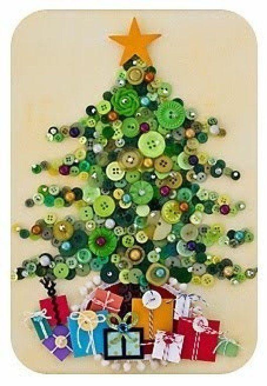 Diy un cuadro infantil con botones rboles de navidad - Arbol de navidad infantil ...