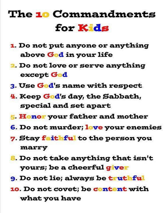 For kids commandments 10 The Ten