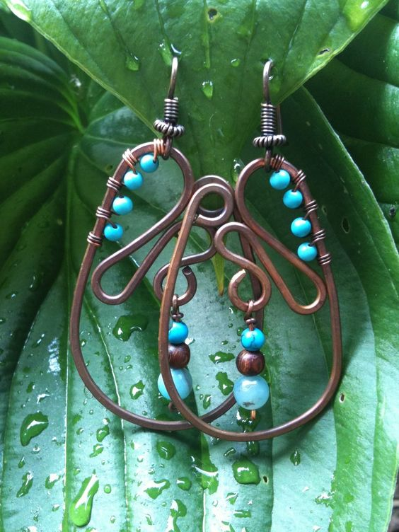 Gemstone Hammered Copper Earrings WATERFALL.