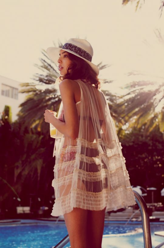 Use a retro nightgown coverup as a swim cover!