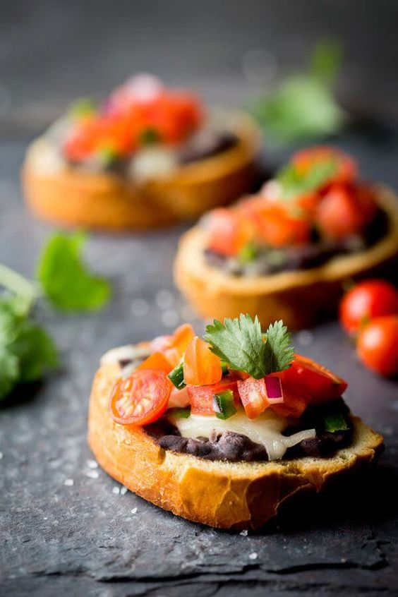 Mini Bean and Cheese Molletes | Healthy Appetizer Ideas for Thanksgiving Day | Thanksgiving Recipes: