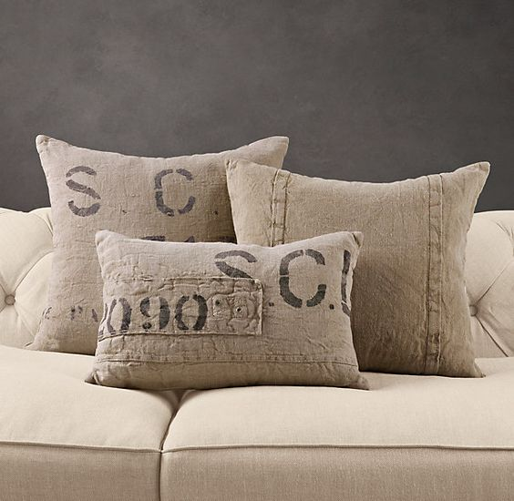 Restoration Hardware Pillows: French Mill Linen Pillows