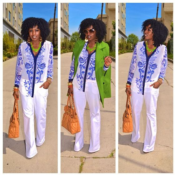 Today's outfit: Scarf print & white flares on stylepantry.com