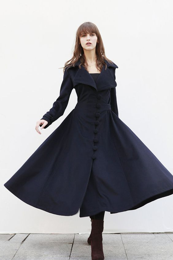 Navy Blue Cashmere Coat Big Sweep Women Wool by Sophiaclothing