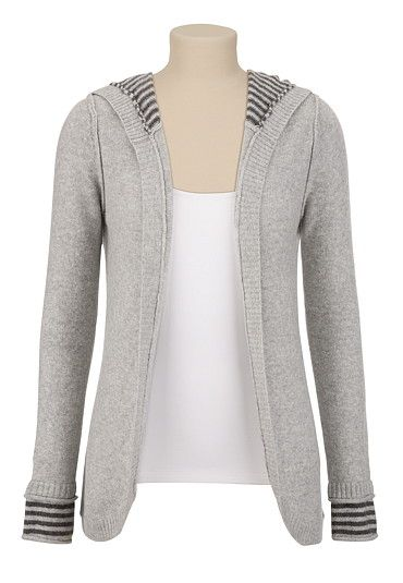 Bought this today and it's super cozy yet lite weight!  [Contrast Stripe Fuzzy Knit Sweater - maurices.com]