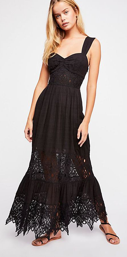 Bohemian Black Lace Maxi Dress