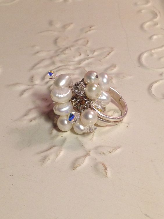 Handmade Ring with Swarovski Crystals, Freshwater Pearls, SS band, wire wrapped
