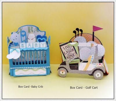 SCRAPCUTS by JUDY: BABY CRIB  &  GOLF CART -  BOX CARDS