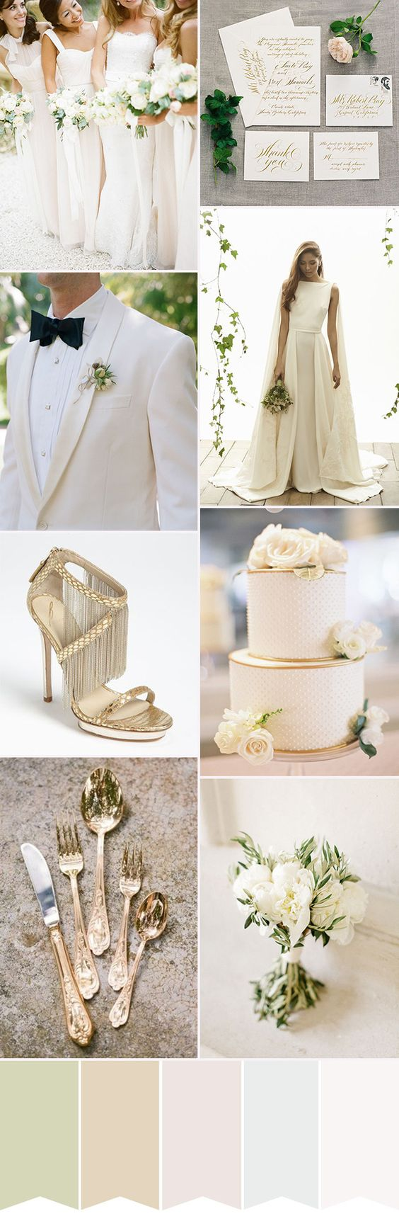 Glam White Wedding Colour Palette | See more wedding inspiration on www.onefabday.com