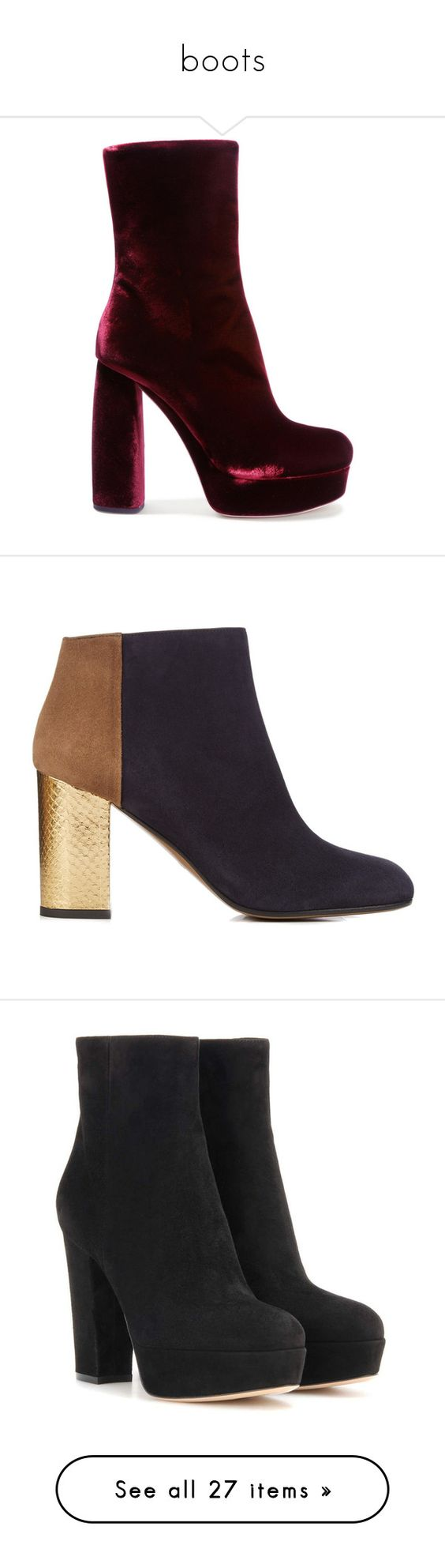 """""""boots"""" by senedjara on Polyvore featuring shoes, boots, ankle booties, ankle boot, high heel boots, high heel ankle boots, high heel platform boots, platform ankle booties, block heel ankle boots e booties"""