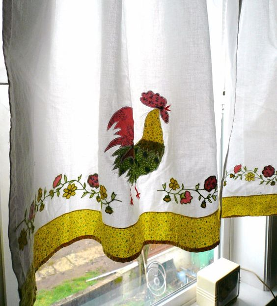 Kitchen Curtains chicken kitchen curtains : VINTAGE KITCHEN CURTAINS / Retro Handmade Applique Rooster Chicken ...
