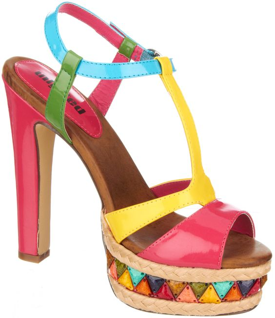 """Multi-color 5 inch heel with stone embellishment on 1"""" stacked platform"""