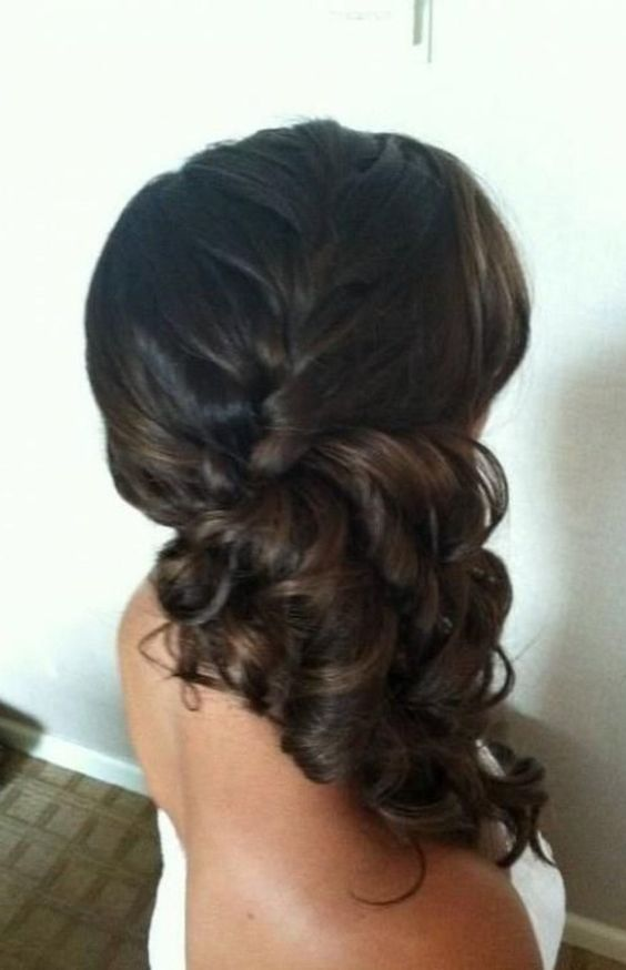 Bridesmaid hair: Side ponytail, low and curled, but starts with a braid coming down to make it a little more secure.