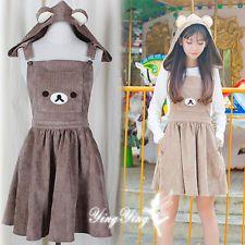Japanese Sweet Lolita Kawaii Cute Bear Ears preppy style Women Suspender Skirt