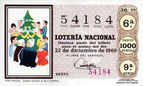 Décimo Del Sorteo Extraordinario De Lotería De Navidad Celebrado El 22 De Diciembre De 1969 Coleccionismo L Lotería Nacional Mensaje De Motivacion Lotería