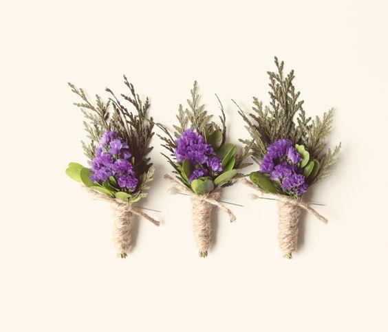 Wedding Flower Ideas For Groomsmen : Groomsmen wedding boutonniere natural keepsake rustic
