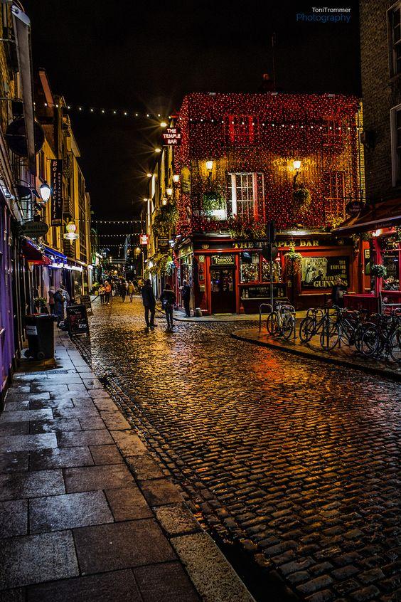 Temple Bar, Dublin, Ireland -- so relaxing and peaceful city.  Plenty of liquid sunshine daily!!!