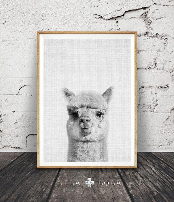 Alpaca Print, Nursery Decor, Alpaca Wall Art, Modern Minimalist Abstract Black and White Animal Print, Printable Art, Nursery Print, Grey
