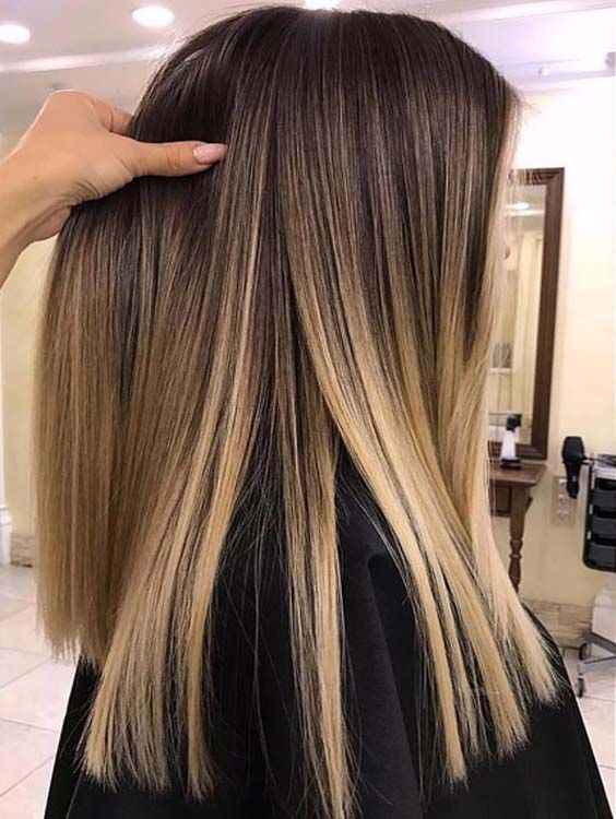 55 Beautiful Brunette Balayage Sleek Straight Haircuts for