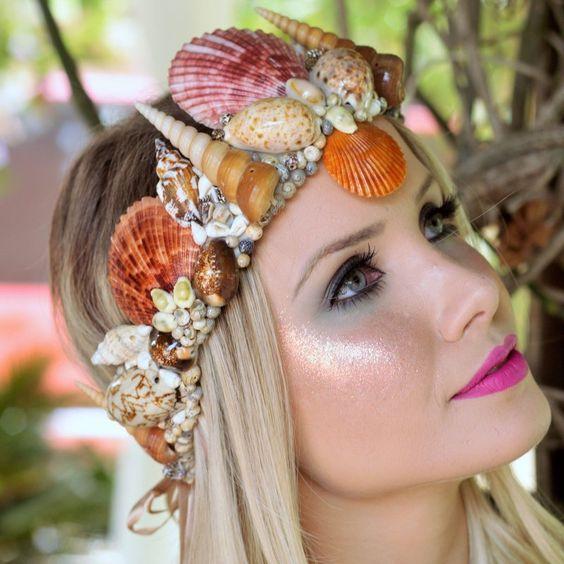 acessório de sereia, acessório de cabelo, coroa de conchas, conchas, tiara de conchas, fantasia de sereia, sereismo, estilo sereismo, acessórios sereismo, acessórios festival, tema mar casamento, mar casamento, casamento na praia acessórios - G. Offer: