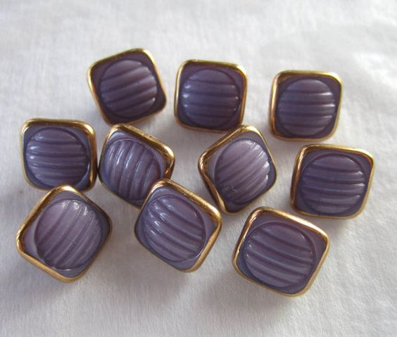 10 Czech Lavender Glass Buttons  7/16 Square   by JanesVintageToo, $10.00