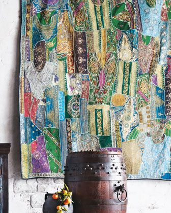 """Blue """"Sari"""" Tapestry at Horchow. Looks like some tapestries I've seen on ETSY - gorgeous"""
