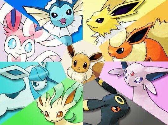 Pokemon Eevee Vaporeon Jolteon Flareon Espeon Umbreon Leafeon Glaceon Sylveon Evoluciones Eevee Evoluciones De Eevee Cosas De Pokemon