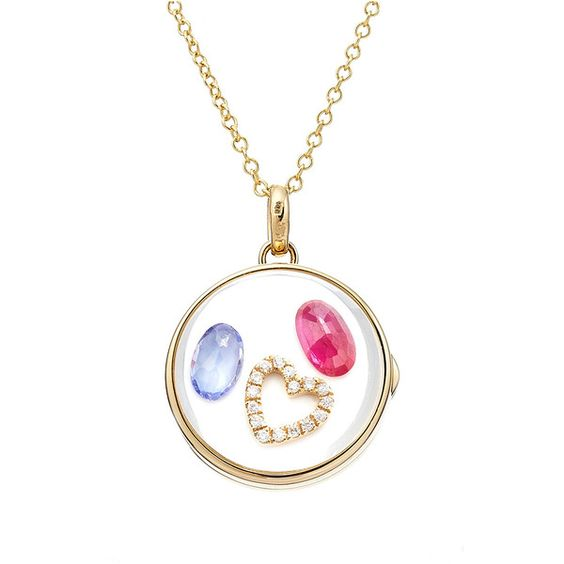 Loquet Medium 14-Karat Heart Locket ($3,233) ❤ liked on Polyvore featuring jewelry, pendants, gold, necklaces, women, heart shaped locket, charm jewelry, round locket, heart shaped jewelry and charm pendant