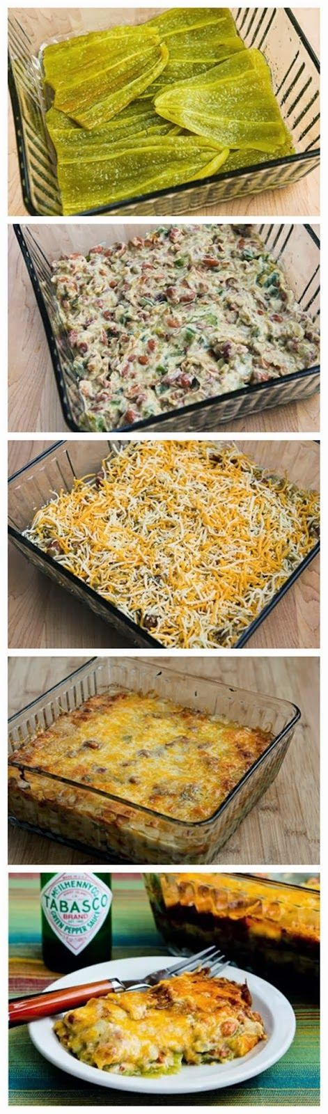 Vegetarian Green Chile and Pinto Bean Layered Mexican Casserole