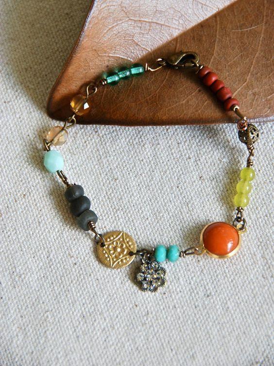 Miya. colorful gypsy bohemian beaded charm by tiedupmemories