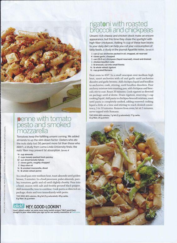 ... broccoli and chickpeas & Penne w/ tomato pesto and smoked mozzarella