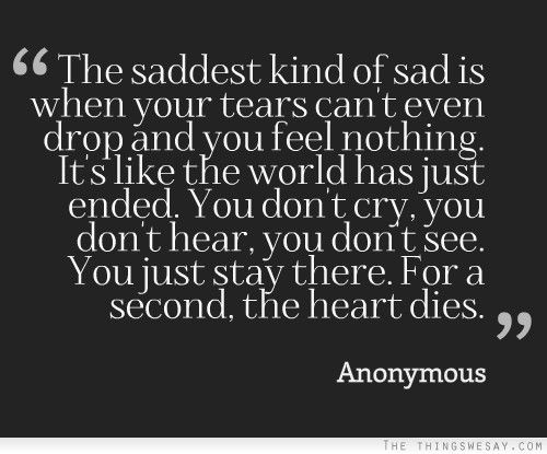 The saddest kind of sad is when your tears can't even drop and you feel nothing it's the world has just ended...... whoa!