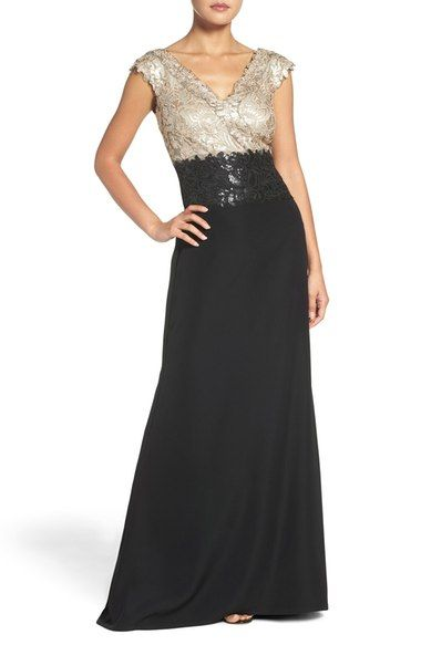 Tadashi Shoji Sequin Woven Fit & Flare Gown available at #Nordstrom