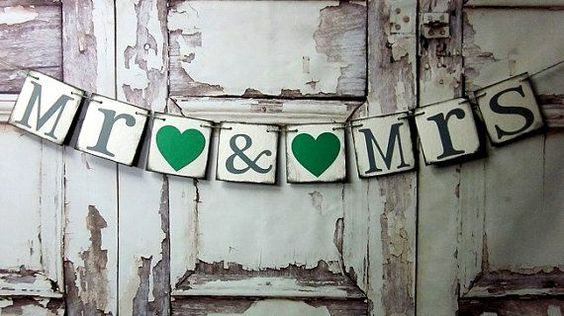 Wedding shower Decorations banner MR & MRS by WineCountryBanners, $14.00, but with red hearts