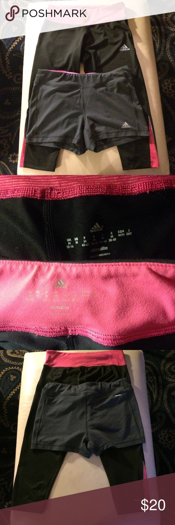 Adidas Climalite Capri Leggings and Shorts Tights Adidas Climalite workout capri tights and shorts tights. Capris are black with pink and silver accents, shorts are gray with pink accents. Shorts have little media pocket for your key or gym pass, etc. These are both in great condition, capris worn twice and shorts just washed and tried on once. Both size Medium. Adidas Pants Leggings